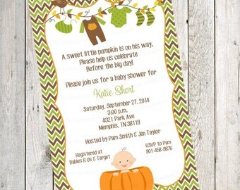 10  Fall Pumpkin Baby Shower Laundry  PRINTED Invitations with Envelopes.  Free Return Address Labels
