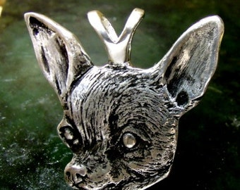 LARGE CHIHUAHUA Pendant Sterling Silver Free dOMESTIC Shipping