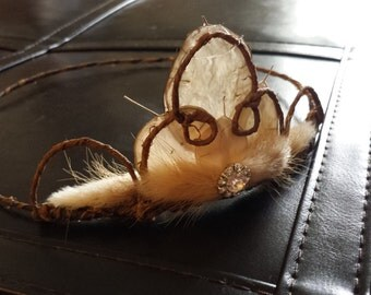 Rustic Flower Girl Crown : winter fall autumn tiara wedding hair headpiece girl woodland natural leaves