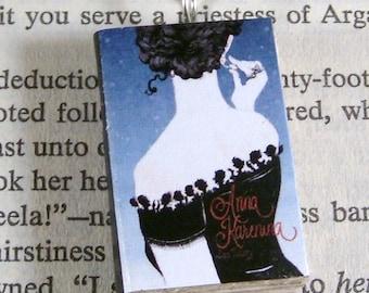 Miniature Classic Novels Book Necklace Charm Anna Karenina