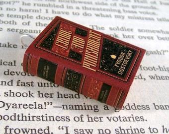 Miniature Classic Novels Book Necklace Charm Crime and Punishment