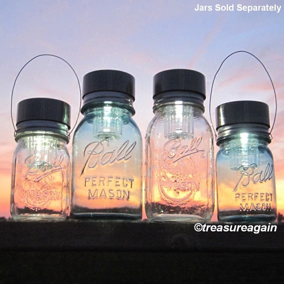 4 Solar LIDS Mix Mason Jar Lights, Includes 2 Hanging Mason Jar Solar Lights Handmade Upcycled DIY Garden Lights, 2 Hangers,  No Jars
