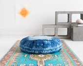 Indigo Dyed Zafu Meditation Cushion: Stitch Resist