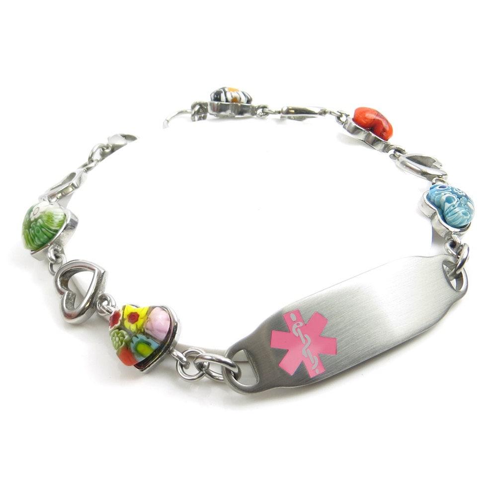 Womens Medical Alert Bracelet Engraved Murano Glass Hearts