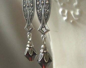Gothic Earrings - Neo Victorian Jewelry - Vintage Style Jewelry - Crimson Peak - Wedding Jewelry - Swarovski Crystals - Bridal Jewelry