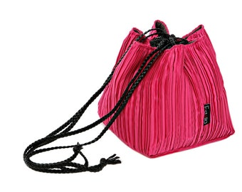 Vegan handbag hot pink lightweight evening bag in small size - Japanese bag