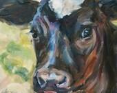 Sale, Holstein calf, Black and white cow, Baby Calf, Bovine Art, Animal, Farm Animal Nursery art Original oil by Carol DeMumbrum