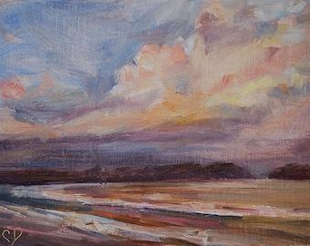 Seascape, Beach Scene, Sunset Painting, Storm Clouds, Original oil by Carol DeMumbrum