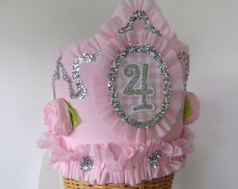 4th Birthday party Crown, 4th birthday Hat, pink birthday crown, customize with any number