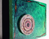 VERDE - Original mix media painting with large recyle paper coil