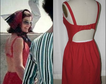 Jackie O Kennedy- Red Open Back Sundress Dress-Custom Made to Size