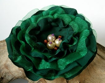 Dark Green, Emerald Flower Pin, Hair Clip,Sash or Brooch