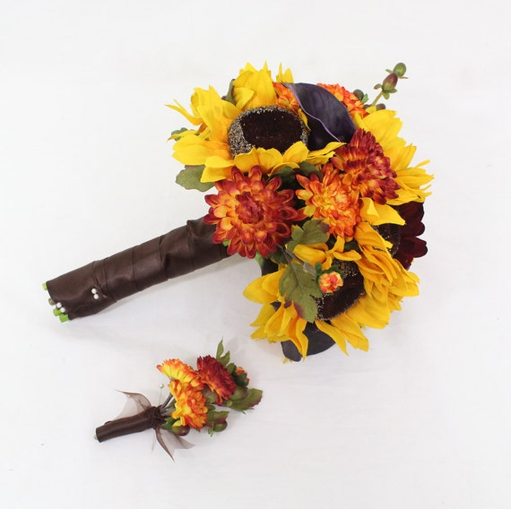 Fall Bridal Bouquets With Sunflowers Fall Wedding Bridal Bouquet