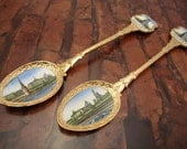 Vintage USSR Collectibles Two Spoon's Inlay Painted Enamel Moscow Nice