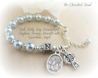 Irish Baby Boy Light Blue Pearl Baptism Rosary Bracelet with Guardian Angel