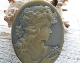 Sterling Silver Goddess Cameo Necklace large cameo Necklace