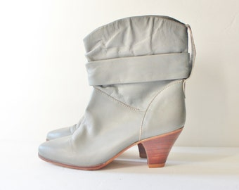 Vintage 80s Dingo Stacked Heel Ankle Boots - Women 6.5 7M Dingo - Gray Leather, Cowgirl, Western