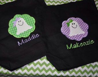 Trick or Treat Bag with Ghost...Name Added for Free
