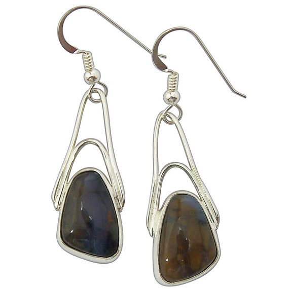Amethyst Sage Agate and Sterling Silver Dangle Earrings, eamsd2327