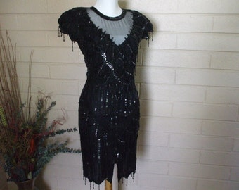 Black Sequin Beaded Dress by Lawrence Kazar, Sz. PP 1980s, Formal Wear,  Party,  Cruise, #5191