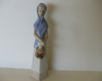Llado Like Girl Carrying Basket of Fruit Figurine, Vintage,  1970's ,  Nao, Gifts, Home Decor #4801