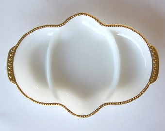 Anchor Hocking FireKing Gold Trimmed Divided Relish Dish