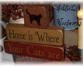 Home is where your cats are Block Chunkies, Primitive, Folkart
