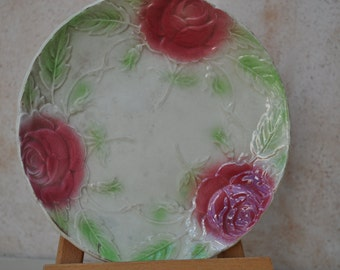Antique French Majolica Plate with Cabbage Roses