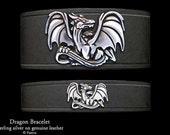 Dragon Leather Bracelet Sterling Silver Dragon on Leather Bracelet