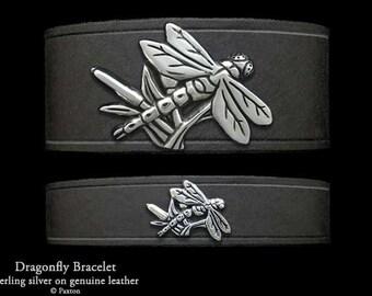 Dragonfly Leather Bracelet Sterling Silver Dragonfly on Leather Bracelet
