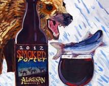Beer Art Print of Smoked Porter by Alaskan Brewing Co. - Year of Beer 06/23, Grizzly Bear Painting, Alaska Painting, Fishing Art, Bar Art