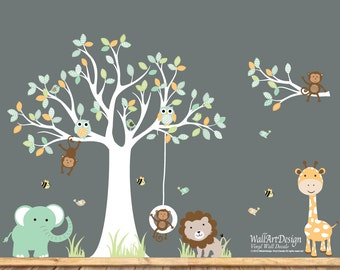 Monkeys Everywhere Wall Decals Jungle Tree With Monekys Wall - Nursery wall decals jungle