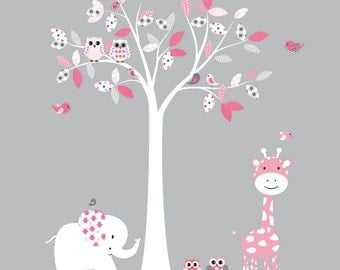 Nursery Wall Decal Pink Baby Tree with Animals Vinyl Wall Decal