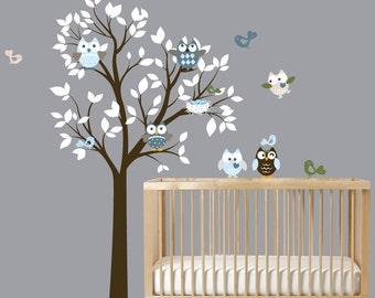 Modern White Nursery Wall Art Tree with Birds Owls Vinyl Decal Set