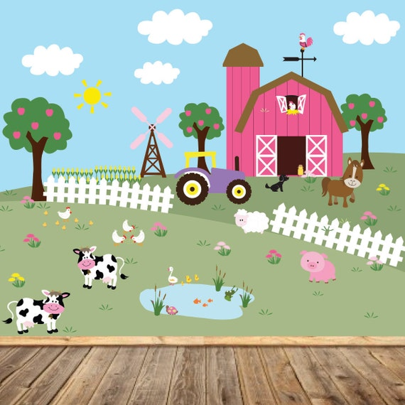 Farm mural barn tractor apple trees windmill fence corn rows for Apple tree mural