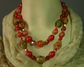 Vintage Coro Hyacinth Lucite & Crystal Necklace