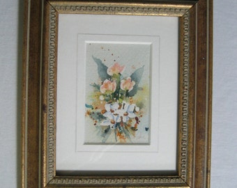 vintage original signed watercolor painting in gold frame