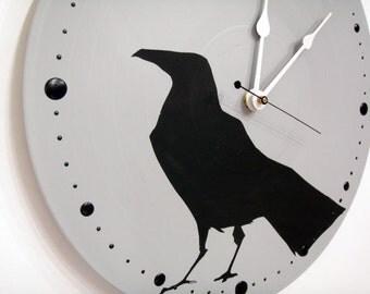 Crow Raven Wall Clock Grey