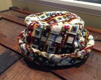 Vintage CREWEL FEDORA, NEEDLEPOINT Hat Bucket Hat Mid Century Millinery Spring Hat