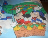 Vintage pillowcase, mickey mouse, disney, hot air balloon, 3 available