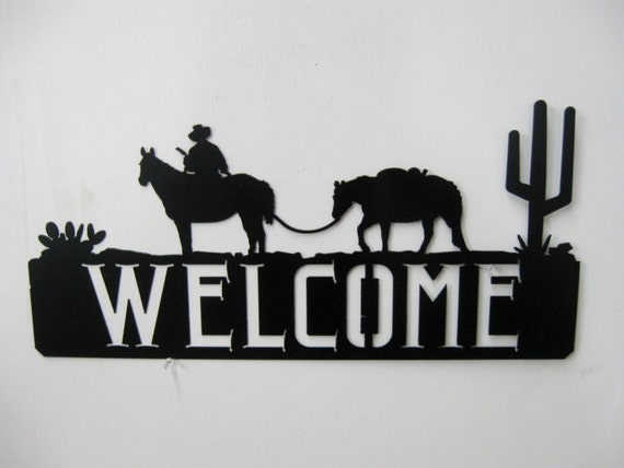 Western Cowboy Horse Welcome Sign Metal