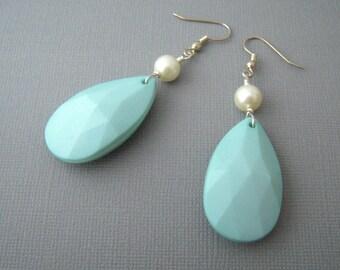 Oversized Earrings, Large Pear Drop Earrings, Pale Turquoise Jewelry, Big Drop Earrings, Statement Jewelry