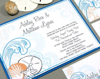 Beach Wedding Invitation Suite, Destination Wedding Invitations, Orange and Blue Wedding Invite, Summer Wedding Pocket Fold Invitation