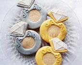 Diamond Engagement Ring Cookie ( 1 Dozen)