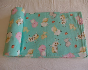 Lightweight Flannel Baby Blanket turquoise  - Farm Animals