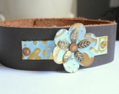 Leather Cuff Bracelet,Woman's Metal Flower Leather Bracelet,Turquoise Patina Leather Bracelet,Leather Accessories