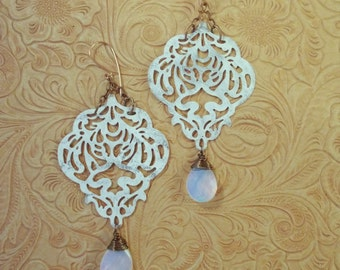 Gypsy Cowgirl Earrings - Shabby White Brass Filigree with White Opalite Crystal Briolettes