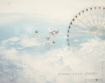 Ferris Wheel Art Print, Surreal Print, Unisex Artwork, Nursery Decor, Dream Journey Wall Art, Blue Sky Cloud Photo, Whimsical Baby Decor
