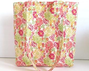 Flower Print Tote Bag - Colorful Bag - Medium Tote Bag - Market Bag