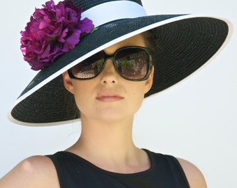 Wedding Hat, Black Wide Brim Hat. Derby Hat, Audrey Hepburn Hat. Church Hat, Formal Hat, Black and White hat, Ascot race hat, Dressy hat